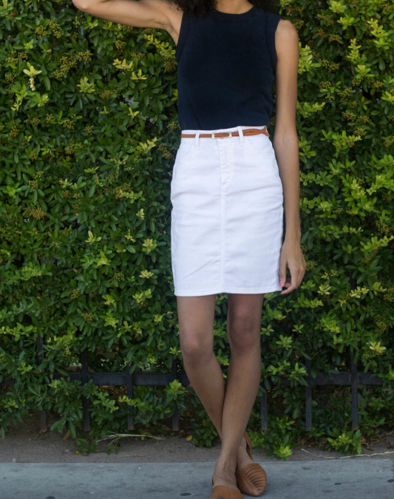 dcb2b0f53070 3 Ways to Wear White Denim Skirt - Thrifts and Tangles